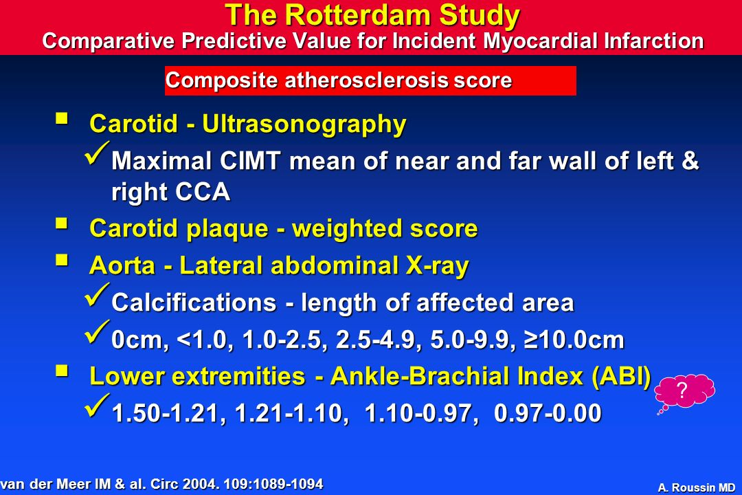 A. Roussin MD The Rotterdam Study Comparative Predictive Value for Incident Myocardial Infarction Carotid - Ultrasonography Carotid - Ultrasonography