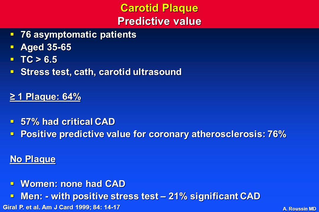 A. Roussin MD Carotid Plaque Predictive value 76 asymptomatic patients 76 asymptomatic patients Aged 35-65 Aged 35-65 TC > 6.5 TC > 6.5 Stress test, c