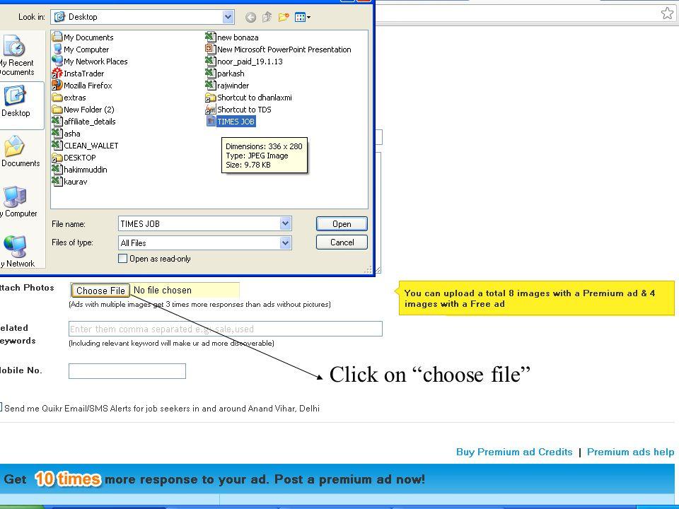 Click on choose file
