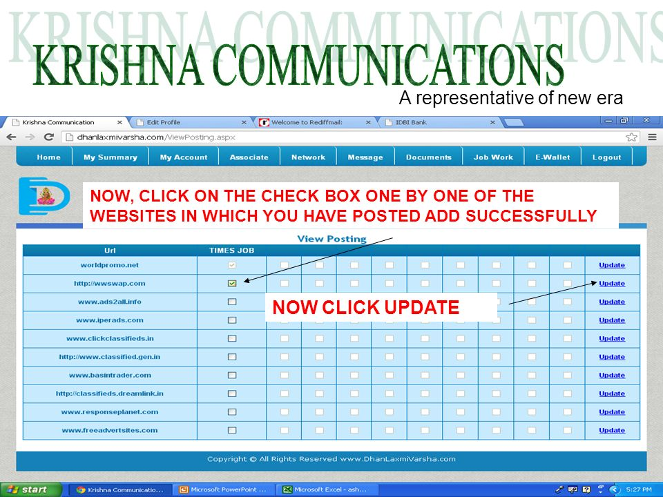 A representative of new era NOW, CLICK ON THE CHECK BOX ONE BY ONE OF THE WEBSITES IN WHICH YOU HAVE POSTED ADD SUCCESSFULLY NOW CLICK UPDATE