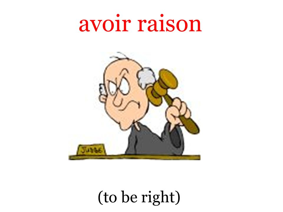 (to be right) avoir raison
