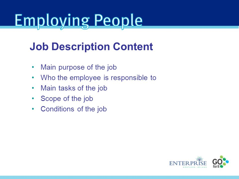 Main purpose of the job Who the employee is responsible to Main tasks of the job Scope of the job Conditions of the job Job Description Content