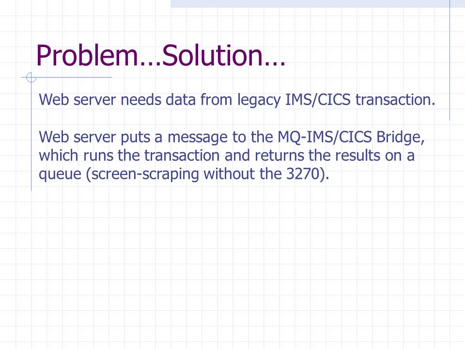 Problem…Solution… Web server needs data from legacy IMS/CICS transaction.