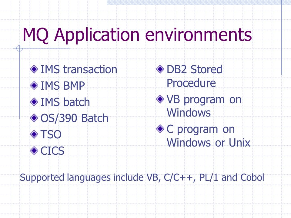 MQ Application environments IMS transaction IMS BMP IMS batch OS/390 Batch TSO CICS DB2 Stored Procedure VB program on Windows C program on Windows or Unix Supported languages include VB, C/C++, PL/1 and Cobol
