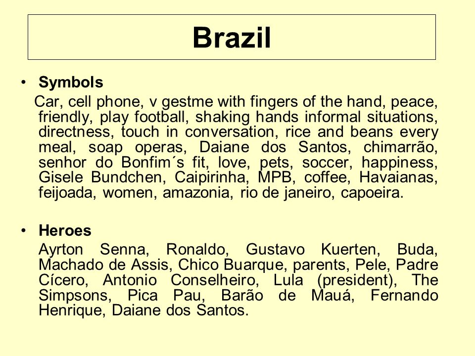Brazil Symbols Car, cell phone, v gestme with fingers of the hand, peace, friendly, play football, shaking hands informal situations, directness, touc