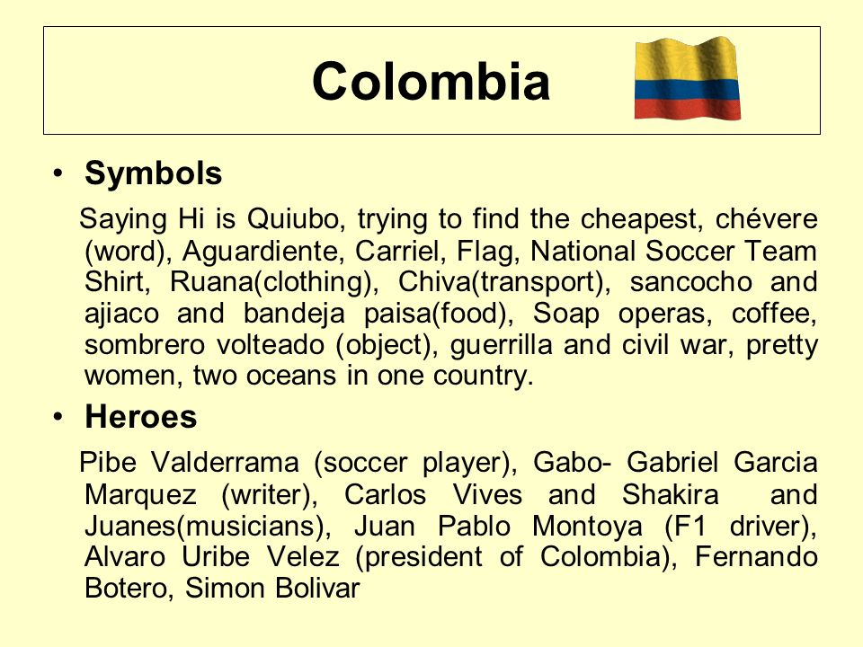 Colombia Symbols Saying Hi is Quiubo, trying to find the cheapest, chévere (word), Aguardiente, Carriel, Flag, National Soccer Team Shirt, Ruana(cloth