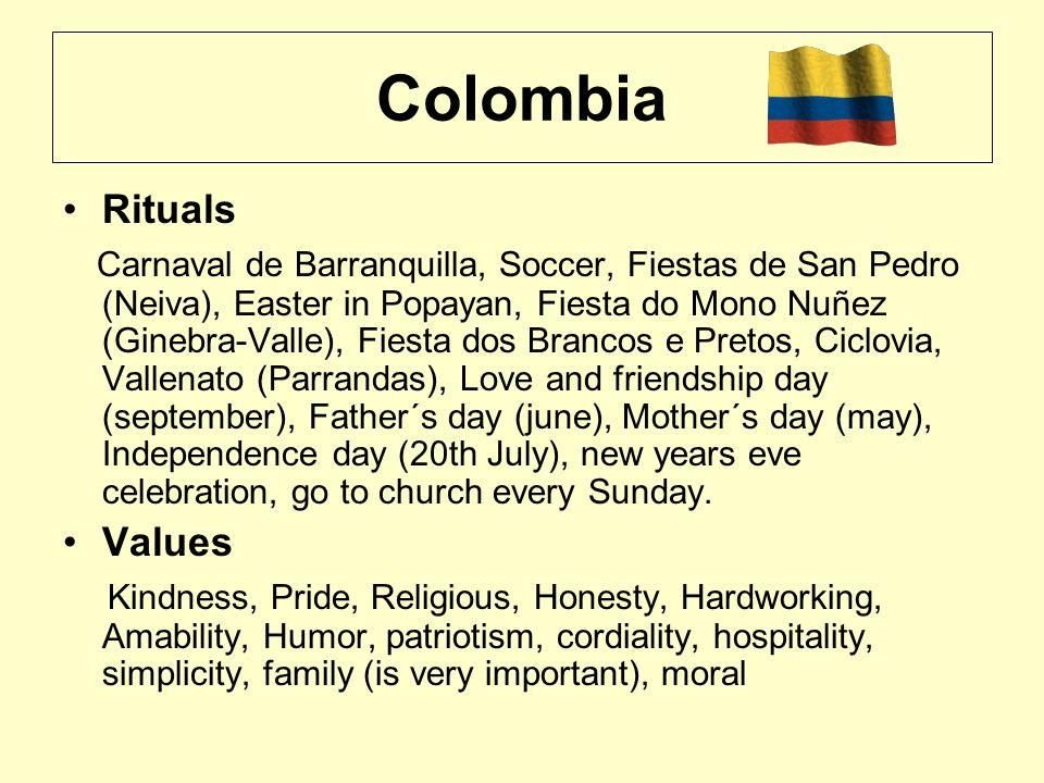 Colombia Rituals Carnaval de Barranquilla, Soccer, Fiestas de San Pedro (Neiva), Easter in Popayan, Fiesta do Mono Nuñez (Ginebra-Valle), Fiesta dos B