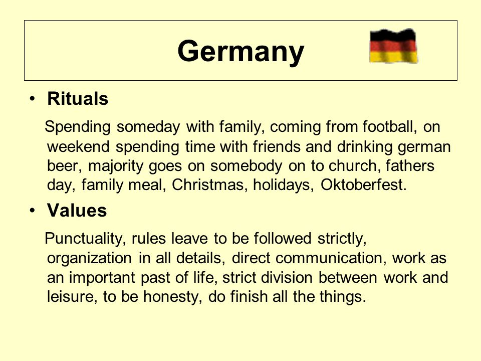 Rituals Spending someday with family, coming from football, on weekend spending time with friends and drinking german beer, majority goes on somebody