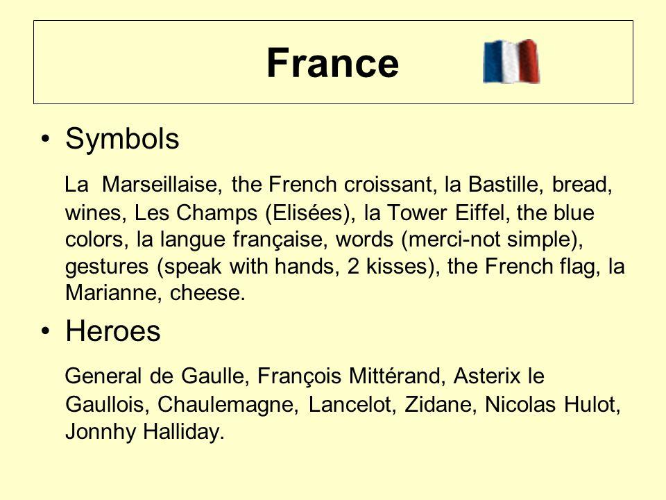 France Symbols La Marseillaise, the French croissant, la Bastille, bread, wines, Les Champs (Elisées), la Tower Eiffel, the blue colors, la langue française, words (merci-not simple), gestures (speak with hands, 2 kisses), the French flag, la Marianne, cheese.