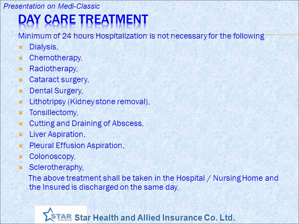 Star Health and Allied Insurance Co. Ltd. Presentation on Medi-Classic Minimum of 24 hours Hospitalization is not necessary for the following Dialysis
