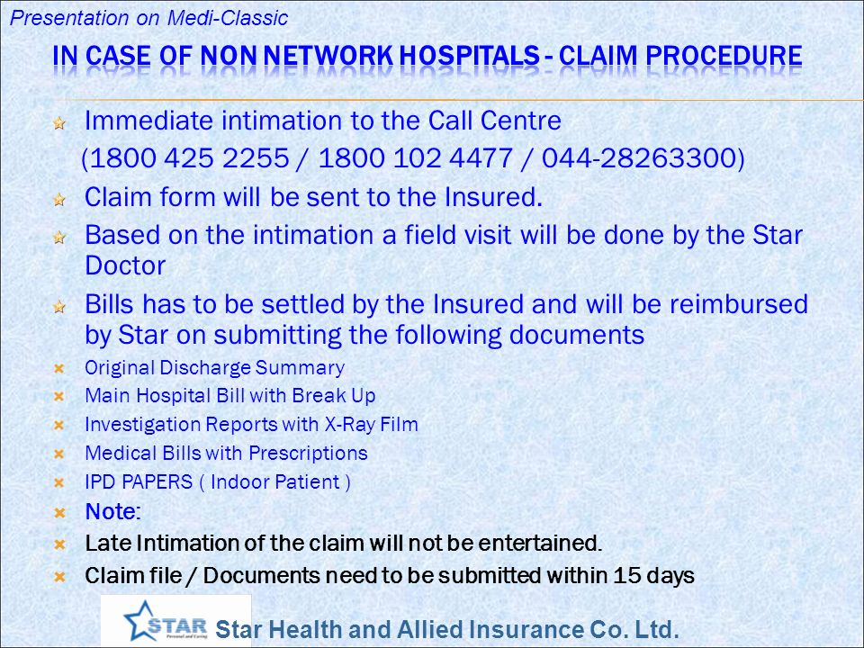 Star Health and Allied Insurance Co. Ltd. Presentation on Medi-Classic Immediate intimation to the Call Centre (1800 425 2255 / 1800 102 4477 / 044-28