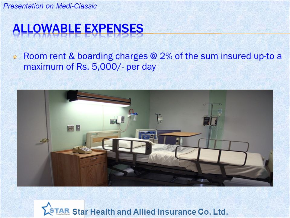 Star Health and Allied Insurance Co. Ltd. Presentation on Medi-Classic Nursing charges