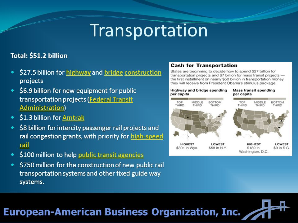 10 European-American Business Organization, Inc. Transportation Total: $51.2 billion $27.5 billion for highway and bridge construction projectshighway