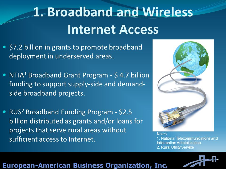 1. Broadband and Wireless Internet Access European-American Business Organization, Inc. $7.2 billion in grants to promote broadband deployment in unde