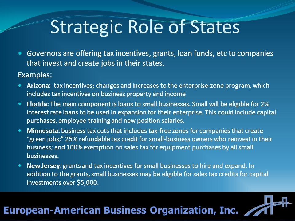 Strategic Role of States Governors are offering tax incentives, grants, loan funds, etc to companies that invest and create jobs in their states. Exam