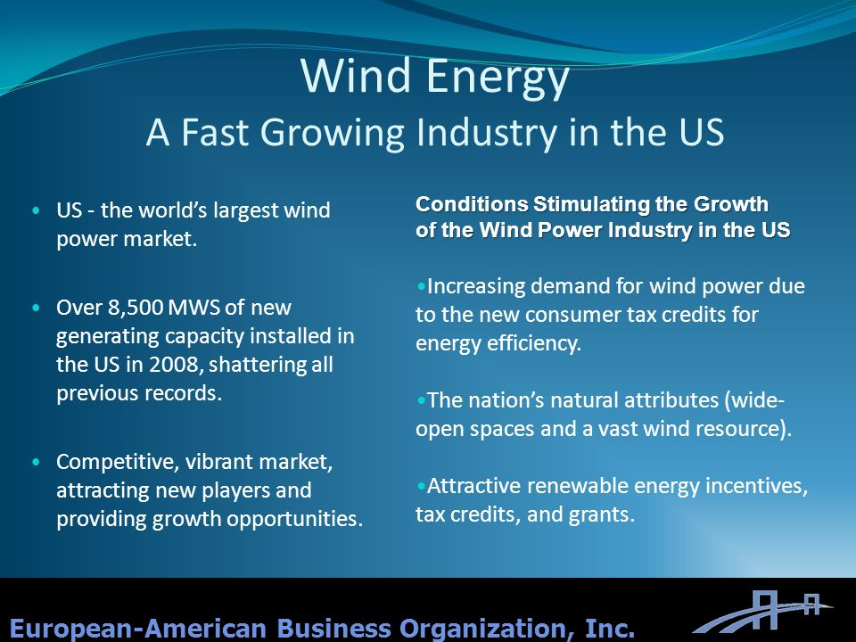 Wind Energy A Fast Growing Industry in the US US - the worlds largest wind power market. Over 8,500 MWS of new generating capacity installed in the US