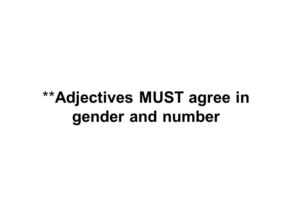 **Adjectives MUST agree in gender and number