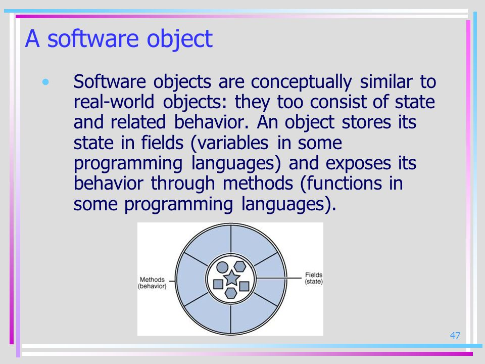 47 A software object Software objects are conceptually similar to real-world objects: they too consist of state and related behavior. An object stores