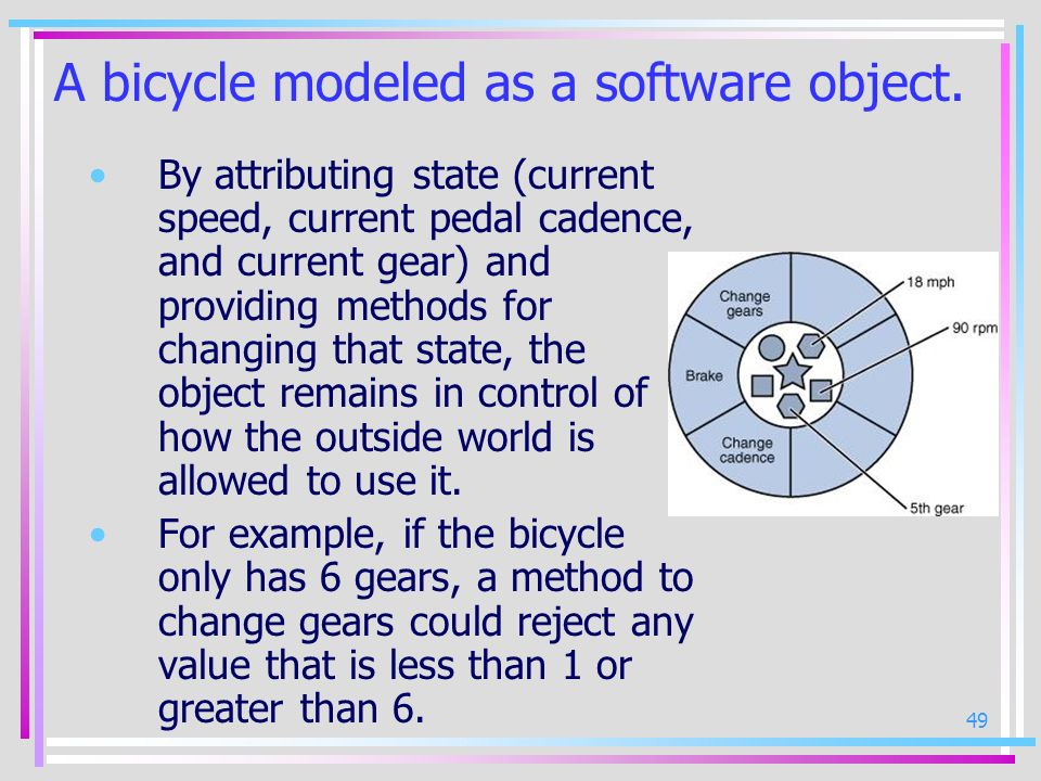 49 A bicycle modeled as a software object. By attributing state (current speed, current pedal cadence, and current gear) and providing methods for cha