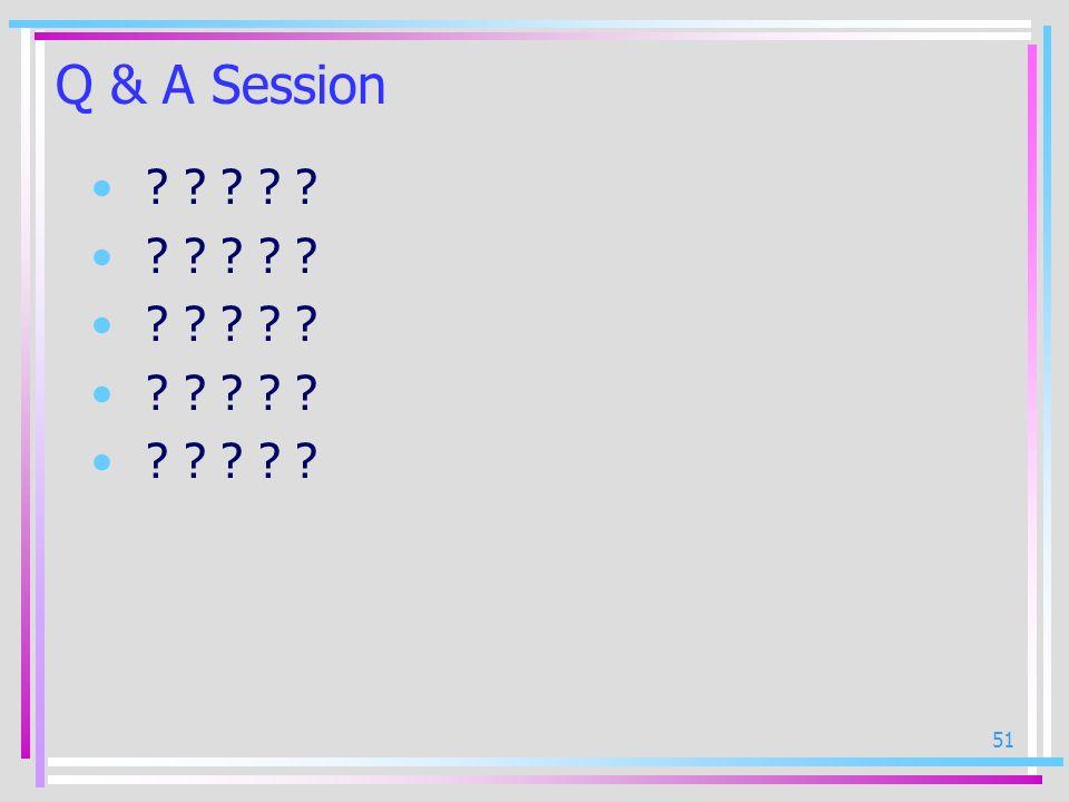 51 Q & A Session ? ? ? ? ?
