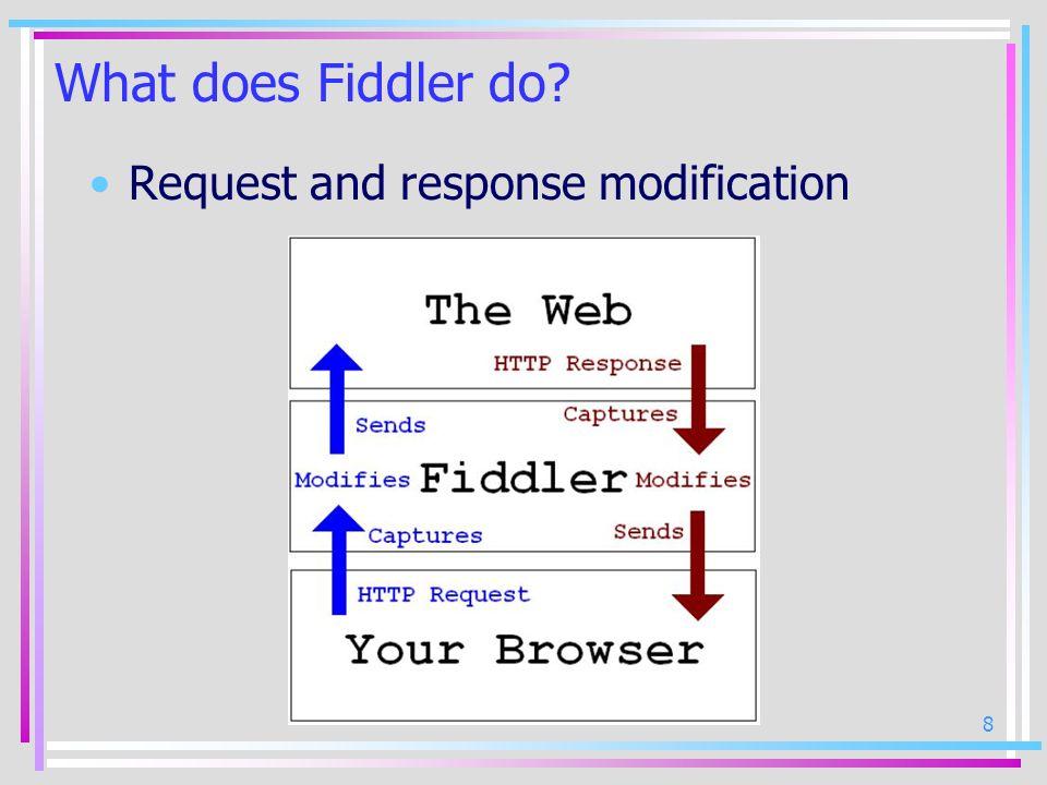 9 What does Fiddler do? Debugging non-Windows clients Fiddler Mac Linux Internet PC PocketPC