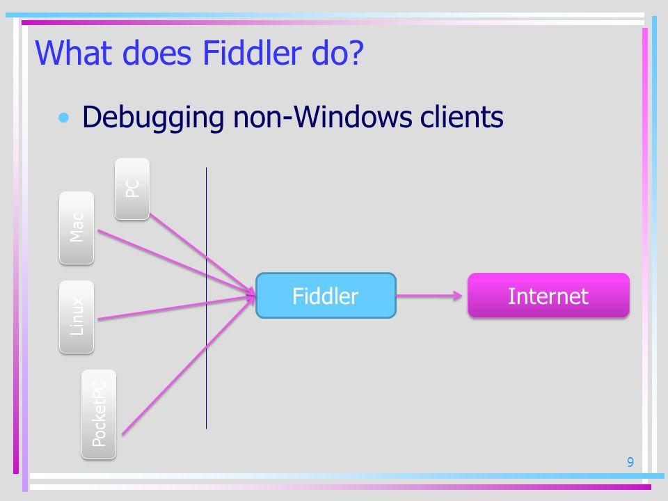 10 What does Fiddler do? HTTP/HTTPS traffic monitoring & analysis