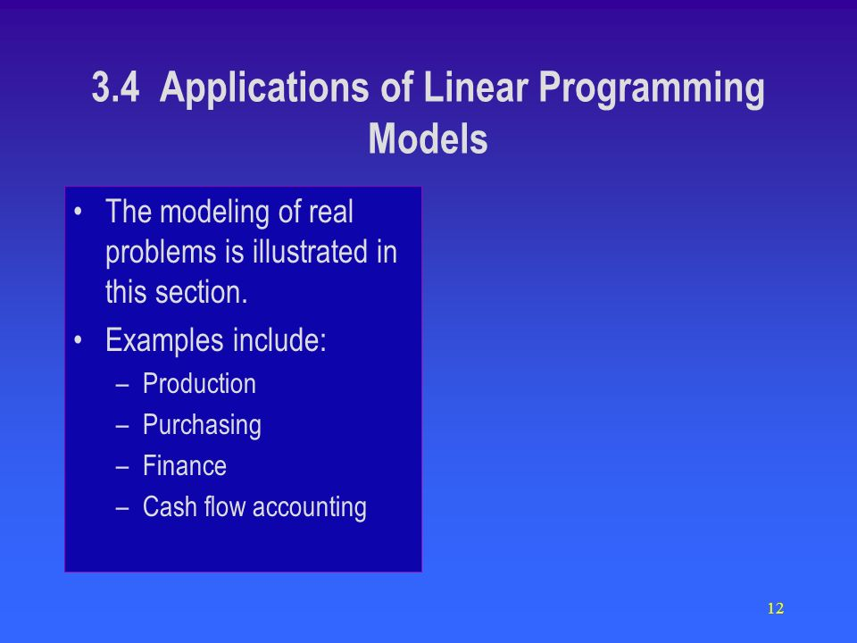 12 The modeling of real problems is illustrated in this section. Examples include: –Production –Purchasing –Finance –Cash flow accounting 3.4 Applicat