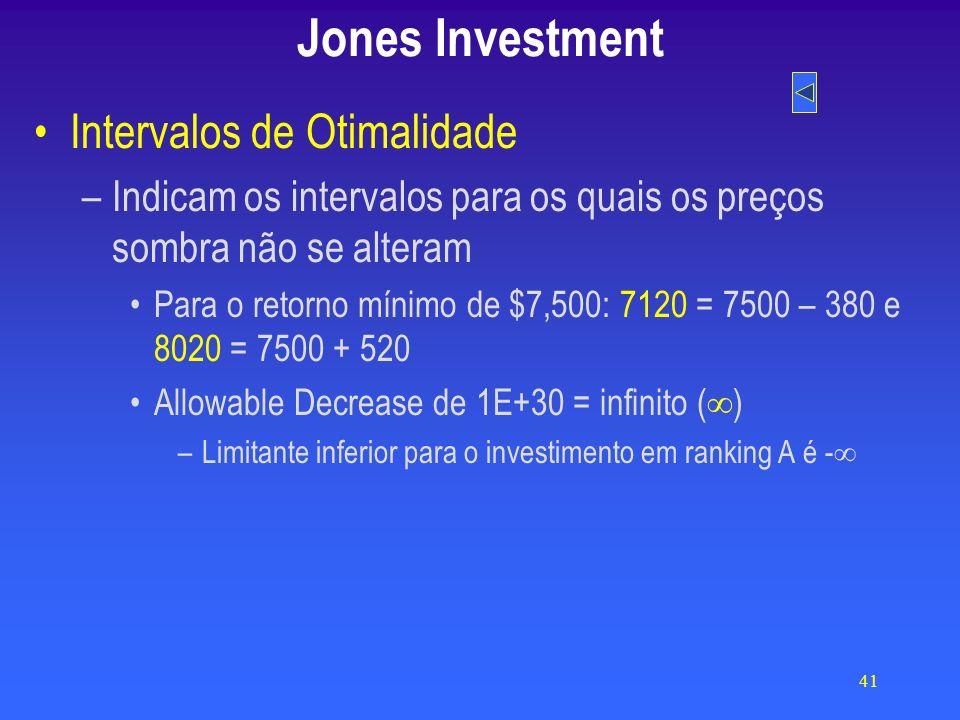 41 Jones Investment Intervalos de Otimalidade –Indicam os intervalos para os quais os preços sombra não se alteram Para o retorno mínimo de $7,500: 7120 = 7500 – 380 e 8020 = 7500 + 520 Allowable Decrease de 1E+30 = infinito ( ) –Limitante inferior para o investimento em ranking A é -
