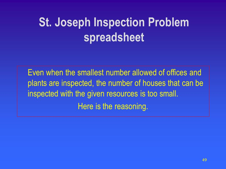 49 Even when the smallest number allowed of offices and plants are inspected, the number of houses that can be inspected with the given resources is t