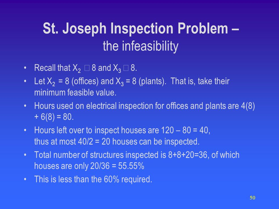 50 St. Joseph Inspection Problem – the infeasibility Recall that X 2 8 and X 3 8. Let X 2 = 8 (offices) and X 3 = 8 (plants). That is, take their mini