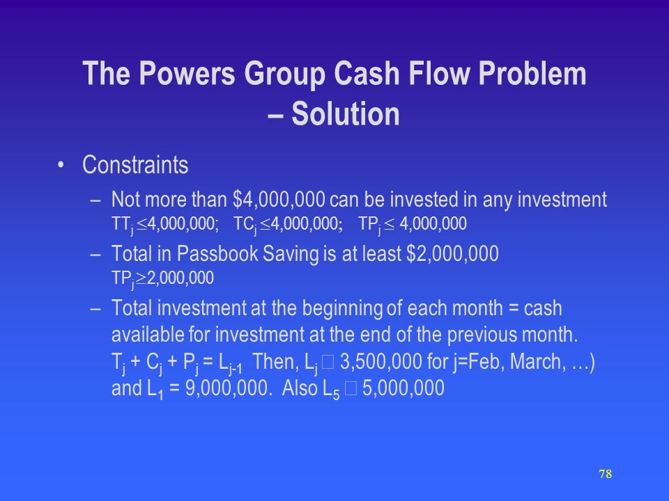 78 Constraints –Not more than $4,000,000 can be invested in any investment TT j 4,000,000; TC j 4,000,000 TP j 4,000,000 –Total in Passbook Saving is at least $2,000,000 TP j 2,000,000 –Total investment at the beginning of each month = cash available for investment at the end of the previous month.