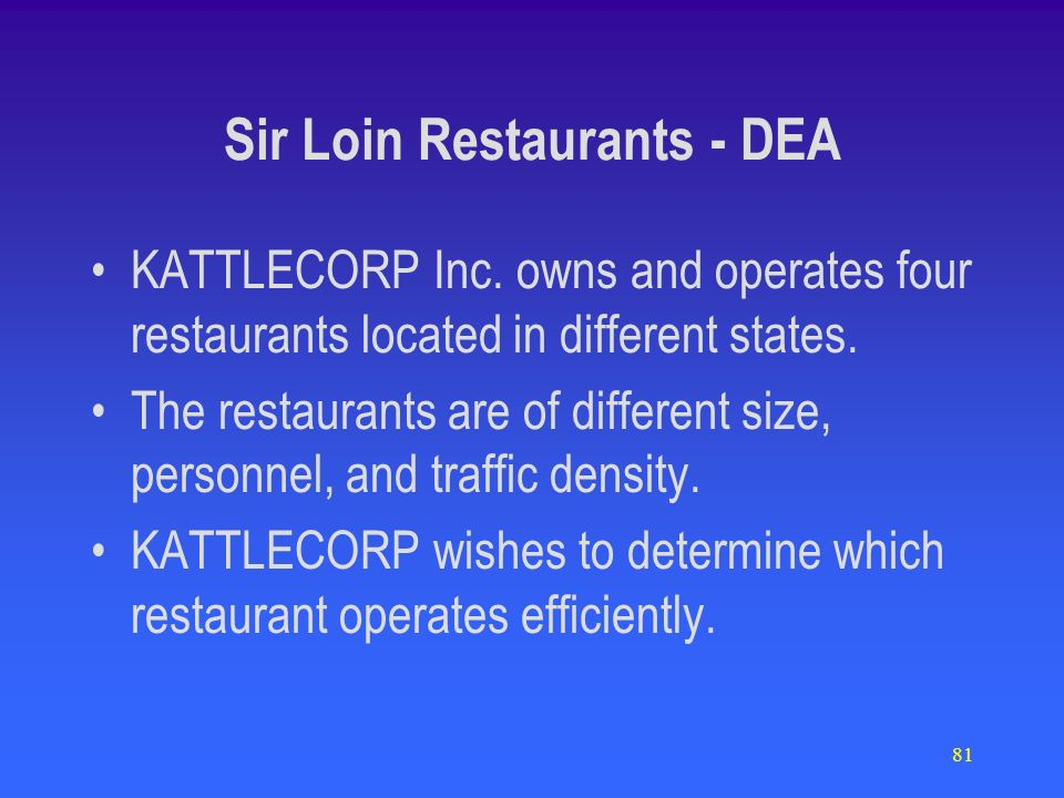 81 Sir Loin Restaurants - DEA KATTLECORP Inc. owns and operates four restaurants located in different states. The restaurants are of different size, p