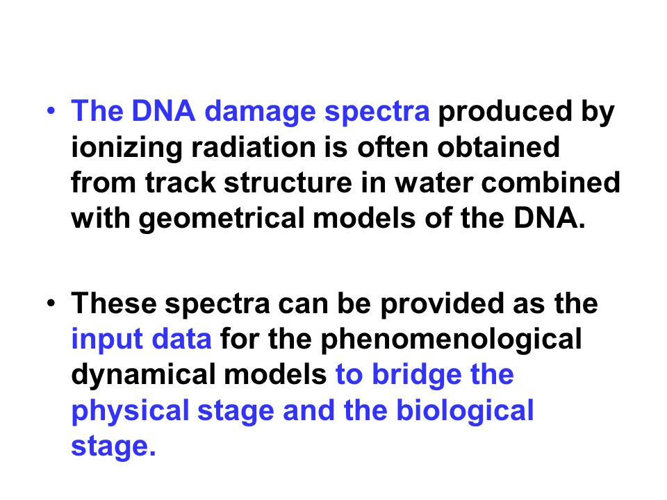 The DNA damage spectra produced by ionizing radiation is often obtained from track structure in water combined with geometrical models of the DNA. The