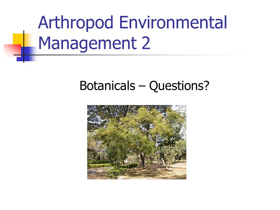 Arthropod Environmental Management 2 Botanicals – Questions?