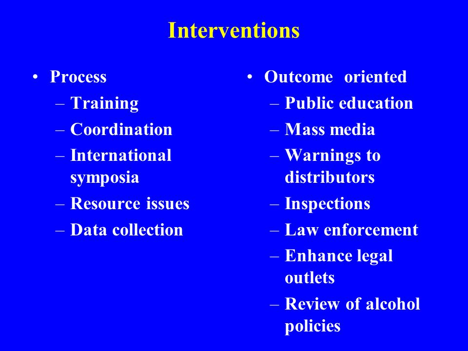 Interventions Process –Training –Coordination –International symposia –Resource issues –Data collection Outcome oriented –Public education –Mass media –Warnings to distributors –Inspections –Law enforcement –Enhance legal outlets –Review of alcohol policies