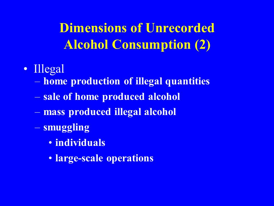 Dimensions of Unrecorded Alcohol Consumption (2) Illegal –home production of illegal quantities –sale of home produced alcohol –mass produced illegal alcohol –smuggling individuals large-scale operations