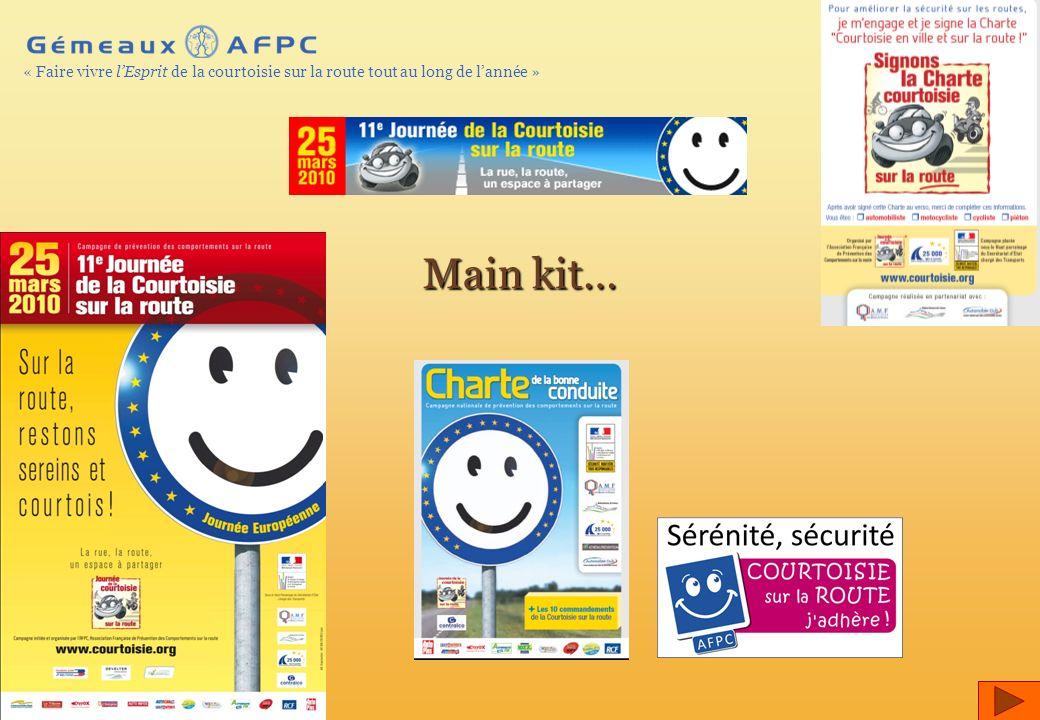 AFPC – 2010 © – Page 19 « Faire vivre lEsprit de la courtoisie sur la route tout au long de lannée » Main kit…