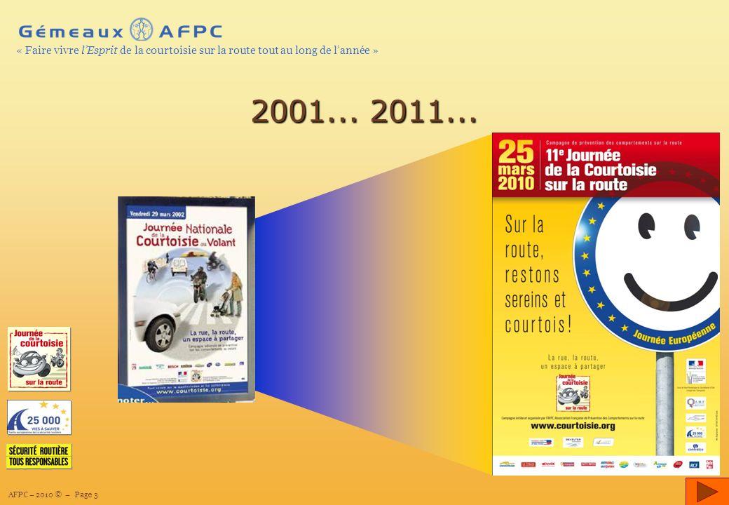 AFPC – 2010 © – Page 3 « Faire vivre lEsprit de la courtoisie sur la route tout au long de lannée » 2001...