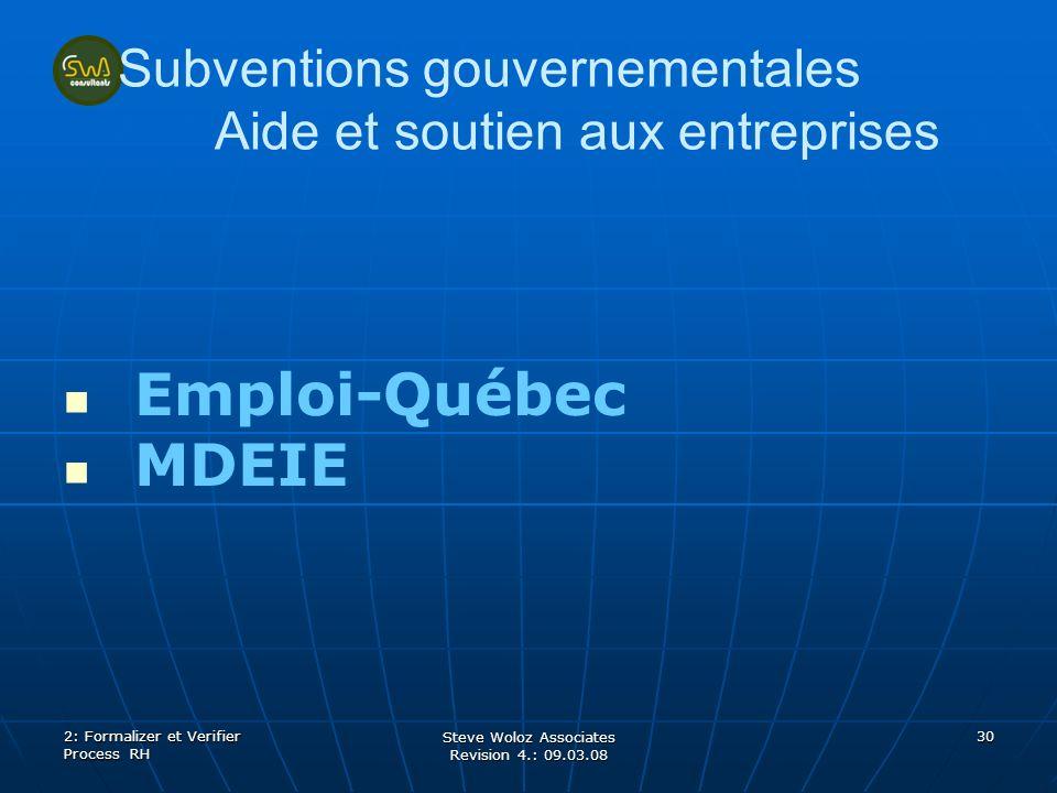 Steve Woloz Associates Revision 4.: 09.03.08 30 Subventions gouvernementales Aide et soutien aux entreprises Emploi-Québec MDEIE 2: Formalizer et Verifier Process RH