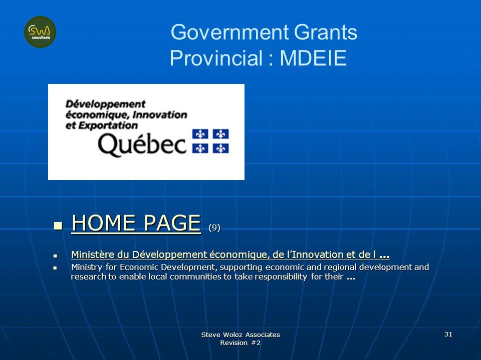 Steve Woloz Associates Revision #2 31 Government Grants Provincial : MDEIE HOME PAGE (9) HOME PAGE (9) HOME PAGE HOME PAGE Ministère du Développement économique, de lInnovation et de l...