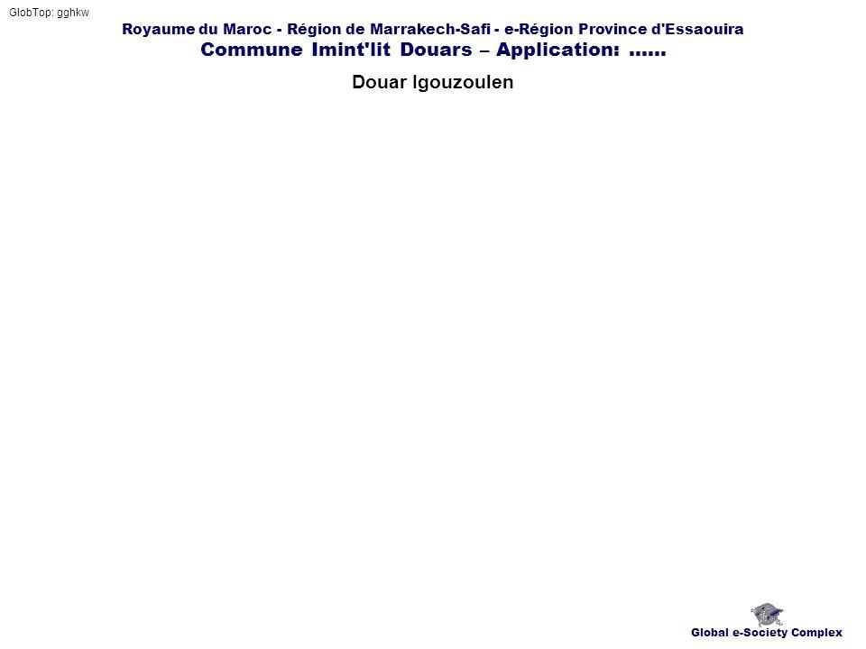 Royaume du Maroc - Région de Marrakech-Safi - e-Région Province d'Essaouira Commune Imint'lit Douars – Application:...... Douar Igouzoulen GlobTop: gg