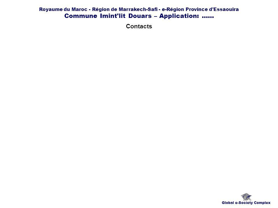 Royaume du Maroc - Région de Marrakech-Safi - e-Région Province d'Essaouira Commune Imint'lit Douars – Application:...... Contacts Global e-Society Co