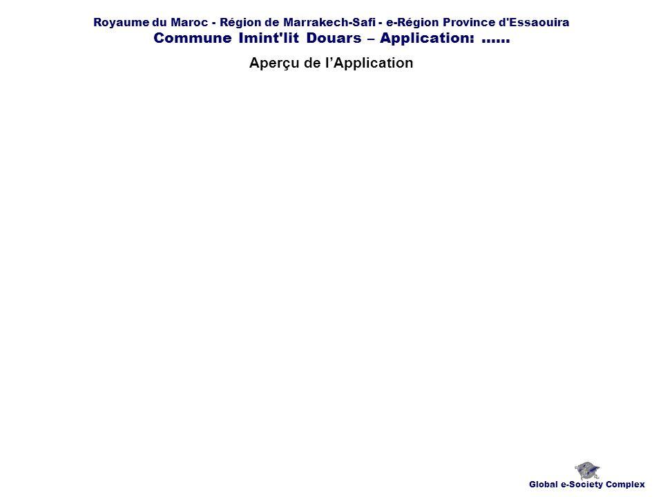 Royaume du Maroc - Région de Marrakech-Safi - e-Région Province d'Essaouira Commune Imint'lit Douars – Application:...... Aperçu de lApplication Globa