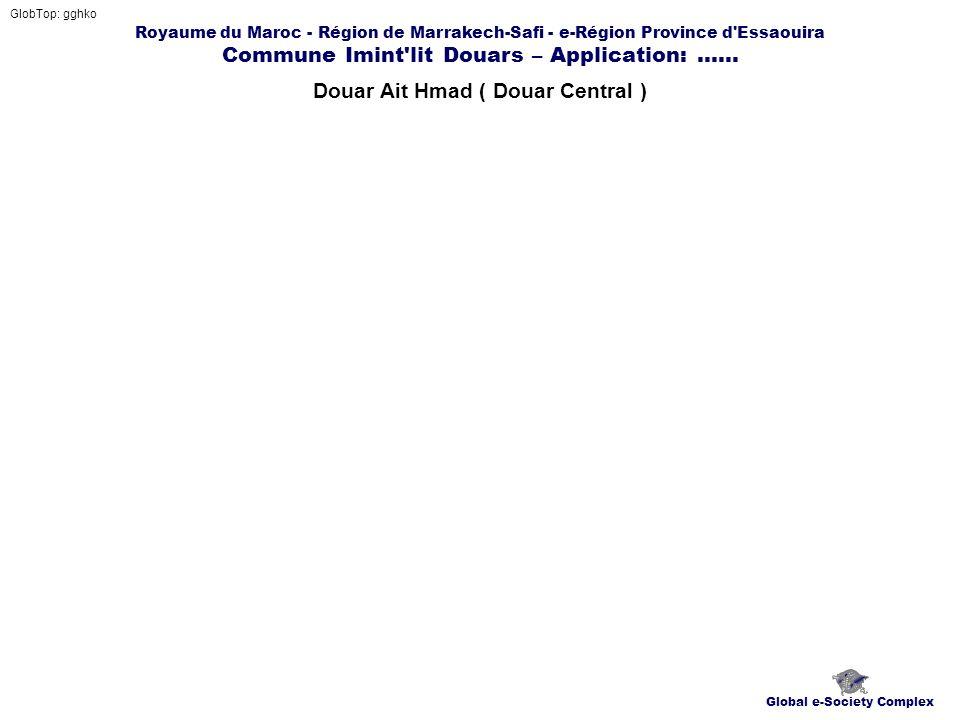 Royaume du Maroc - Région de Marrakech-Safi - e-Région Province d'Essaouira Commune Imint'lit Douars – Application:...... Douar Ait Hmad ( Douar Centr