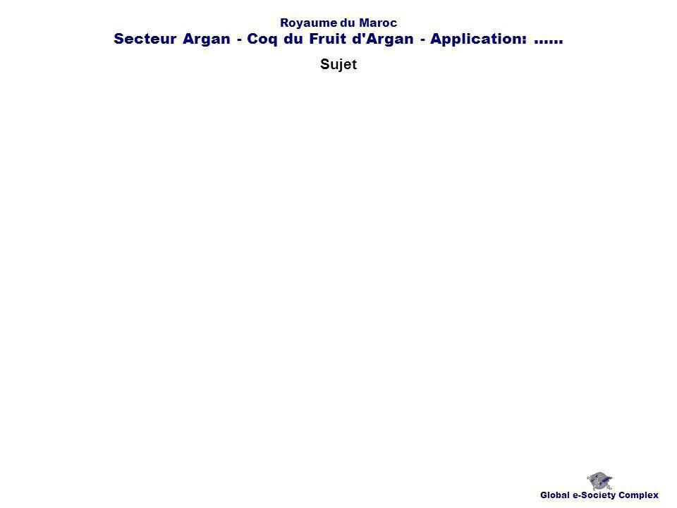 Sujet Global e-Society Complex Royaume du Maroc Secteur Argan - Coq du Fruit d Argan - Application:......