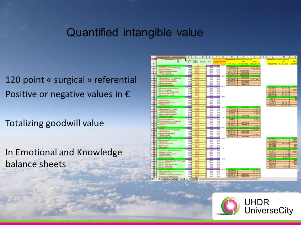 Quantified intangible value 120 point « surgical » referential Positive or negative values in Totalizing goodwill value In Emotional and Knowledge balance sheets