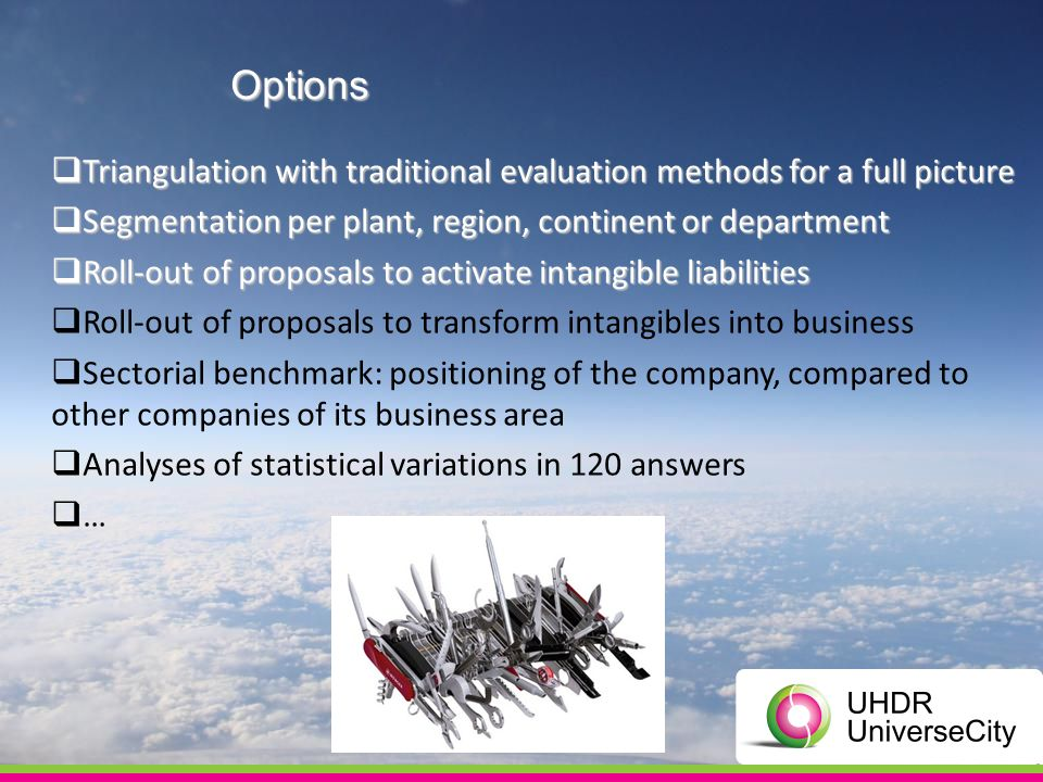 Options Triangulation with traditional evaluation methods for a full picture Triangulation with traditional evaluation methods for a full picture Segm