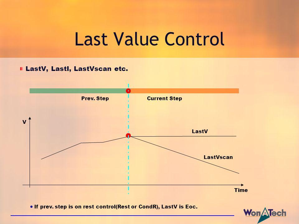 Last Value Control LastV, LastI, LastVscan etc. Prev. Step Current Step V Time LastV LastVscan If prev. step is on rest control(Rest or CondR), LastV