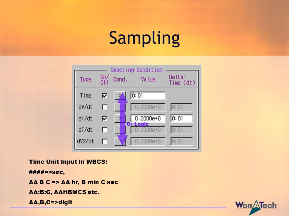 Sampling Or Logic Time Unit Input In WBCS: ####=>sec, AA B C => AA hr, B min C sec AA:B:C, AAHBMCS etc. AA,B,C=>digit