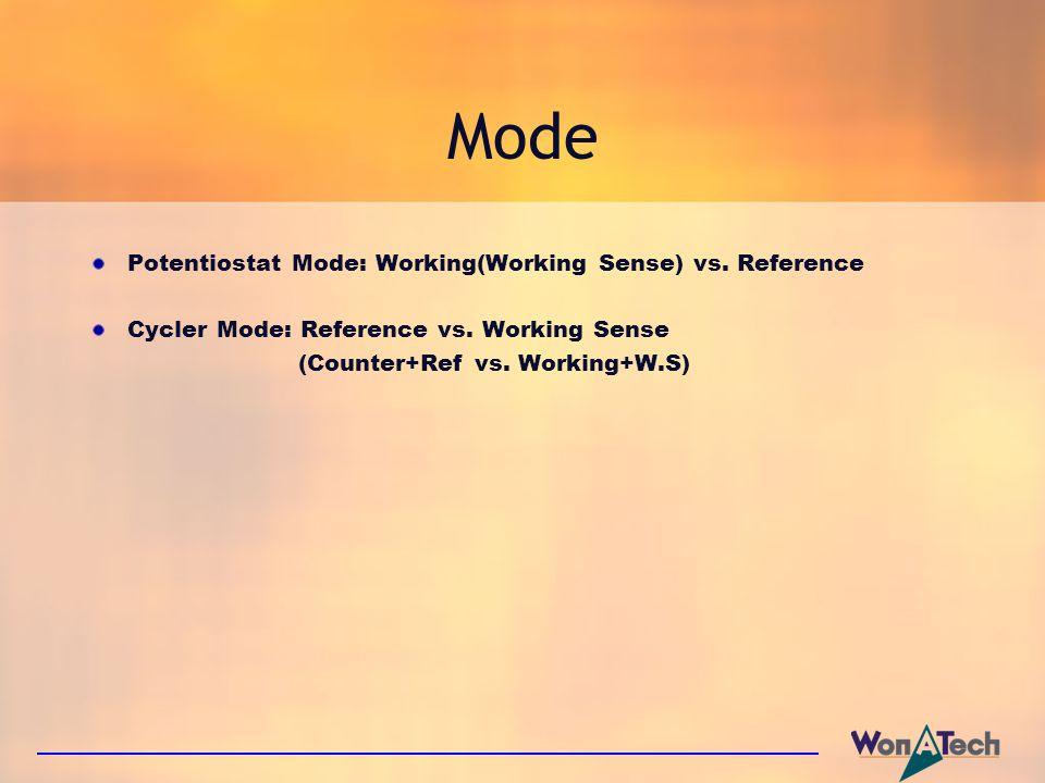 Mode Potentiostat Mode: Working(Working Sense) vs. Reference Cycler Mode: Reference vs. Working Sense (Counter+Ref vs. Working+W.S)